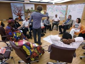Le groupe des francophones durant la séance SA-GE (et Carl le facilitateur Open Space)